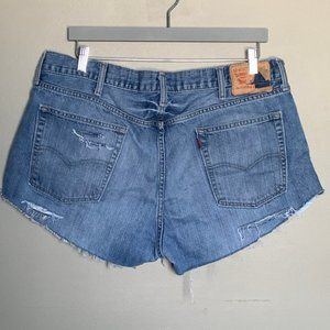 Levi's hand distressed cutoff jean shorts